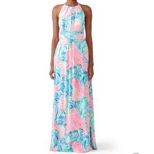 Lilly Pulitzer Floral Martina Maxi dress k5